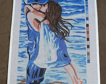 Hand Painted Design Printed 18CT MONO Needlepoint Canvas KISS