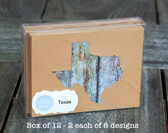 Texas or any US state map cutout wood texture photography blank note cards. Box/12. Die cut, Thank You, Country Chic, Rustic Blank Cards