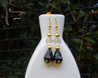 Black Agate and Crystal Drop Gemstone 925 Sterling Silver Earrings Handmade Gift
