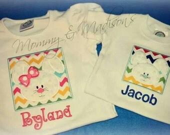 Boy or girl bunny Easter applique shirt