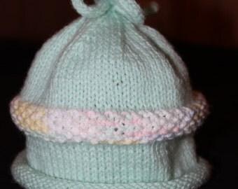 Baby Hat -Knit Baby Hat - Baby Beanie - Hand Knit Baby Beanie Hat