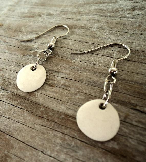 Semi porcelain drop earrings
