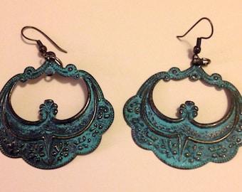 western country teal earrings