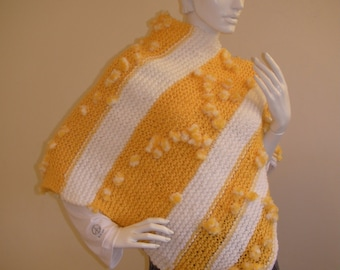 Light Weght Knitted WhiteYellow Poncho, Knitted Yellow top,White top,bulky poncho,light weight top,Knitted top.