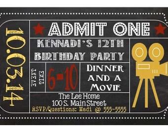 Printable Movie Night Birthday Invitation