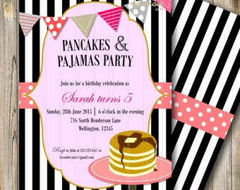 Pancakes and Pajamas Party, Girl Birthday, Pancakes and Pyjamas Birthday, Pink Girl Sleepover Party, Black White Stripes, DIY Printable