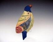 Bird sculpture Royal Blue Bird wall hung ceramic with decorative cape