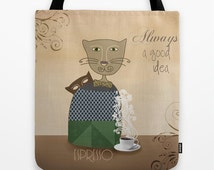 Decorative tote bag cat, cat bag, cats bag, shopping bag, kitten bag, cat lovers tote bag,  animal bag, brown tote bag, coffee lovers, gift