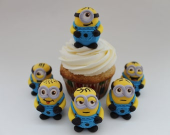 Fondant Minion cupcake toppers, 6 pack