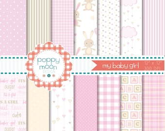 Baby girl,new baby, pinks and beige,printable digital paper pack