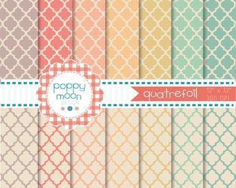 Quatrefoil vintage colors ,printable digital paper pack