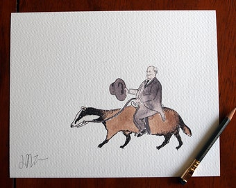 1. President William Taft Riding a Badger Ink/ Watercolor Color PRINT 8x10. A Unique Gift for History & Badger Enthusiasts.