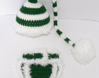 Newborn Baby Crocheted Green/White Stocking Hat and matching Diaper Cover.