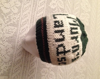 Green and White Beanie, Company Logo Hat, Personalized Knitted Hat