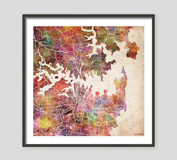 Sydney map watercolor painting australia giclee fine art Home decor wall decor australia