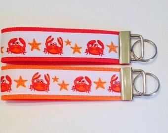 Ocean CrabsWristlet KeyFob/Key Ring/Lanyard/Dog Collar, Luggage/Backpack Tag, Teacher Badge/Whistle Holder, Souvenir, Sports/Sewing Lanyard