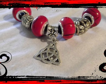 Braided Leather cord with pentagram charm bracelet