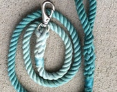 Rope Leash--Cotton--Ombre Turquoise