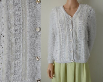 Vintage cardigan sweater, white fluffy textured long sleeve, French handknitted button up cardigan, small medium