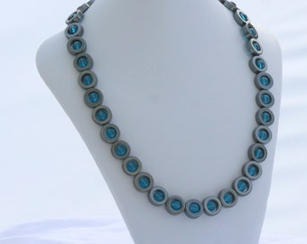 Hematite Necklace with Turquoise Czech Glass Beads