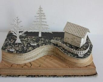 Seaside cliff scene - Book Sculpture - Book Art - Upcycled Book - Book Collage - Book Paper Sculpture - Sculpture de Livre