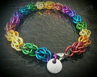 Colorful Sweetpea Chainmail Bracelet