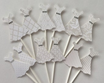 Wedding Gown Cupcake Toppers - 12 Bridal Cupcake Toppers - Bridal Dress Centerpieces - Wedding Party Decor - Cupcake Toppers