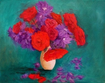 Red and Purple flowers with a Green background