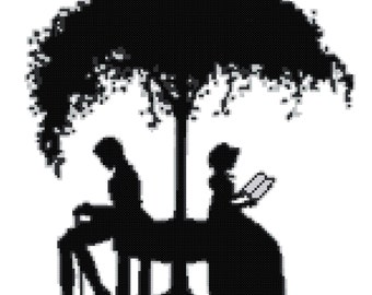 Cross stitch pattern silhouette