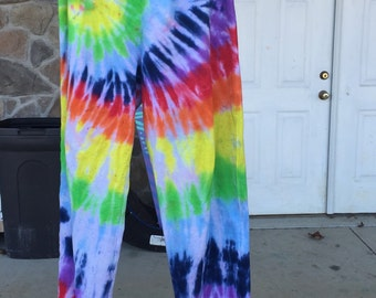Rainbow tie dye sweatpants.
