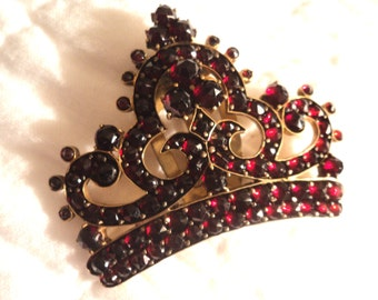 Genuine Antique Gold Plate Crown Design with Faceted Garnets  Brooch Clip Closure Possibly Victorian