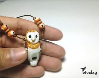 beautiful clay barn owl bird whistle necklace handmade bioclay thailand