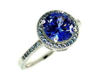 Stunning Tanzanite and Aquamarine Ring .925 Sterling Silver