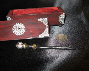 Miniature magic wand in ornate box sized for fashion dolls