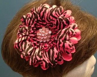 Pink Hair Flower, Animal Print Flower, Pinup Flower, Rockabilly Hair Flower, Retro Hair Flower, Bling Hair Clip, Flower Hair Clip