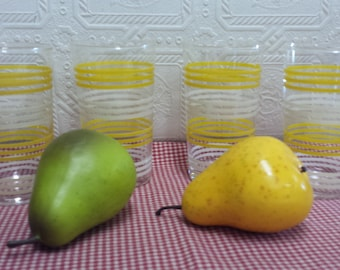 Set of 4 Vintage Yellow and White Stripe Drinking Glasses