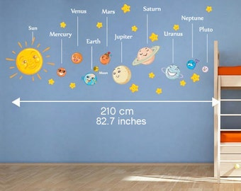 Solar System Decals - Planets with Names Wall Stickers - Sticker For  Nursery or Kids Bedroom Decoration