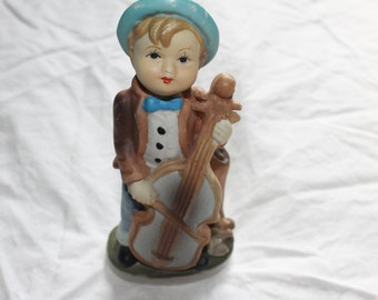 Vintage Boy w Large Guitar, Porcelain, Very Detailed, Hand Painted, Nice Figurine, Home Decoration, Collectible,