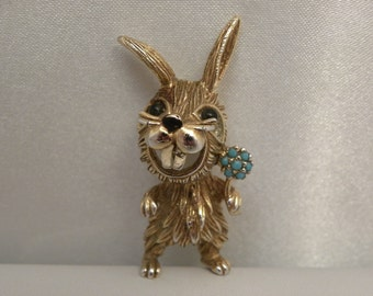 Vintage Panetta Happy Buck Tooth Rabbit & Flowers Brooch