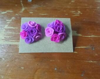 Purple Rose Bouquet stud earrings
