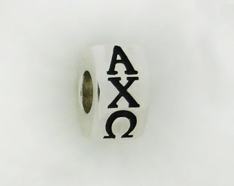 alpha chi omega letters european sorority big hole greek barrel bead sterling silver