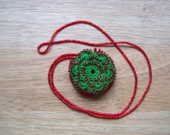 Necklace Hand Crocheted Green & Red Beaded Bustle Necklace