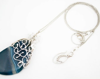 Lurue - blue agate and fine silver wire wrapped necklace with milky quartz, handmade, silvermiths, wire wrap, steampunk