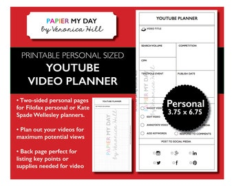 Filofax YouTube Video Planner - Printable YouTube Planner for Filofax Personal, Kikki K Medium size agendas
