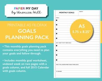 A5 Filofax Goals Planner Kit - Fits Kikki K Large/Personal, A5 Filofax - Goal Planning Kit