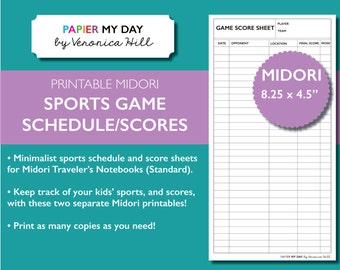 Midori Traveler's Notebook Game Score / Kids Sports Schedule Printables for MTN