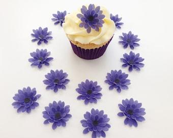 14 Edible Purple 3D Wafer Flowers Cupcake Toppers Precut