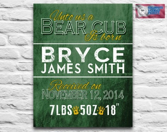 Baylor University Bears Birth Announcement DIGITAL DOWNLOAD for your to print Nursery decor Baby Shower gift kids printable, 8x10 11x14