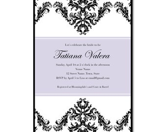 Bridal Shower 5x7 Invitation - Damask - Printable and Personalized