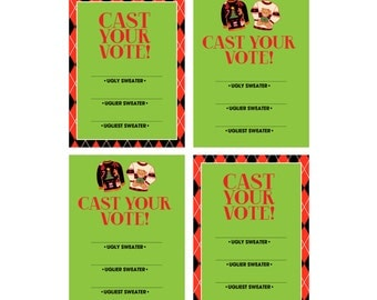 INSTANT DOWNLOAD - Printable Cast Your Vote Cards (2 designs) - Ugly Christmas Sweater Party - The Good. The Bad. The Ugly.